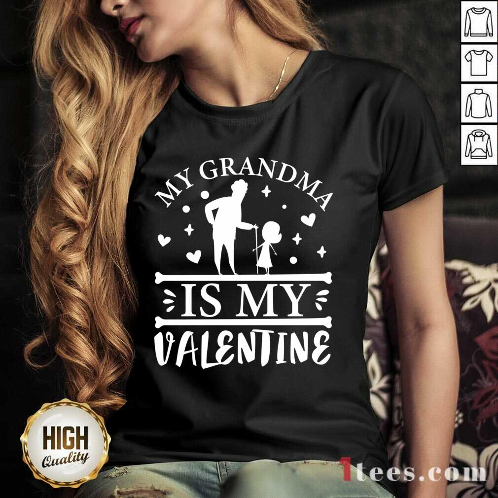 Grandma Is My Valentine V-neck- Design By 1Tees.com