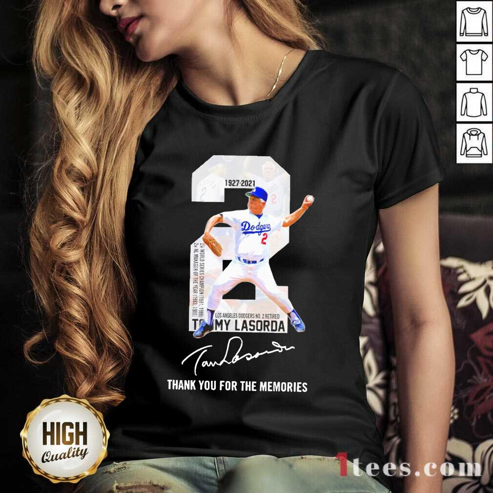 2 Tommy Lasorda Los Angeles Dodgers 1927 2021 Thank You For The Memories Signature V-neck-Design By 1Tees.com