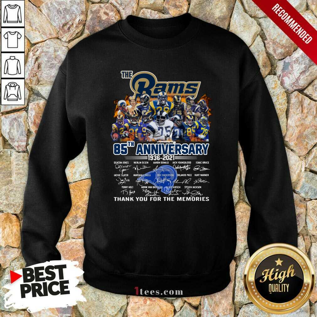 The Rams 85th Anniversary Thank You The Memories Signatures Sweatshirt