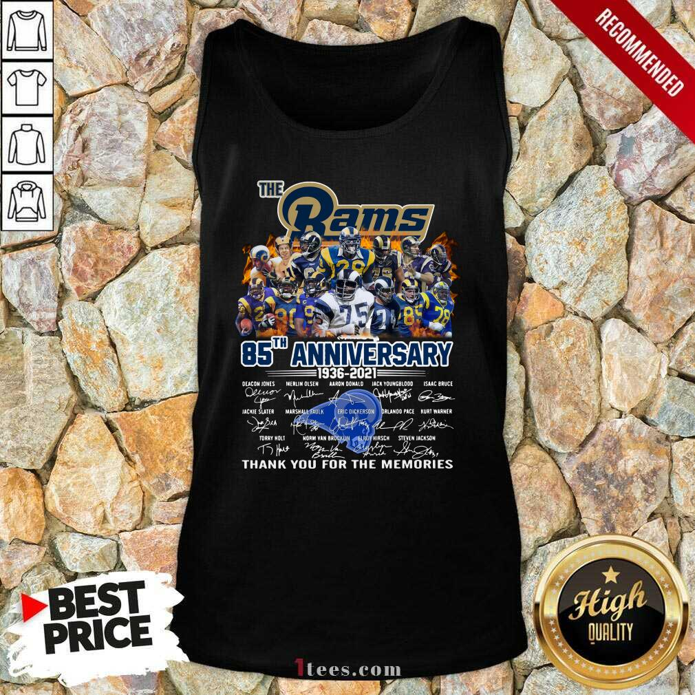 The Rams 85th Anniversary Thank You The Memories Signatures Tank Top