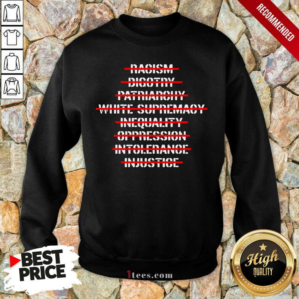 Anti Racism Bigotry Patriarchy White Supremacy Sweatshirt- Design By 1Tees.com