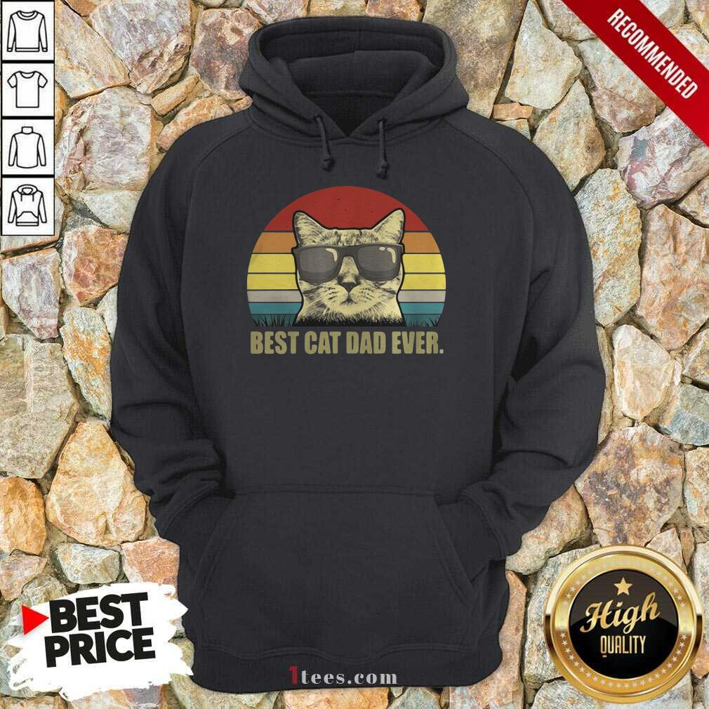 Best Cat Dad Ever Sunset Hoodie- Design By 1tees.com