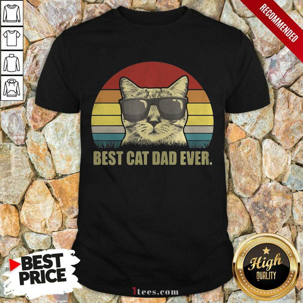 Best Cat Dad Ever Sunset Shirt- Design By 1Tees.