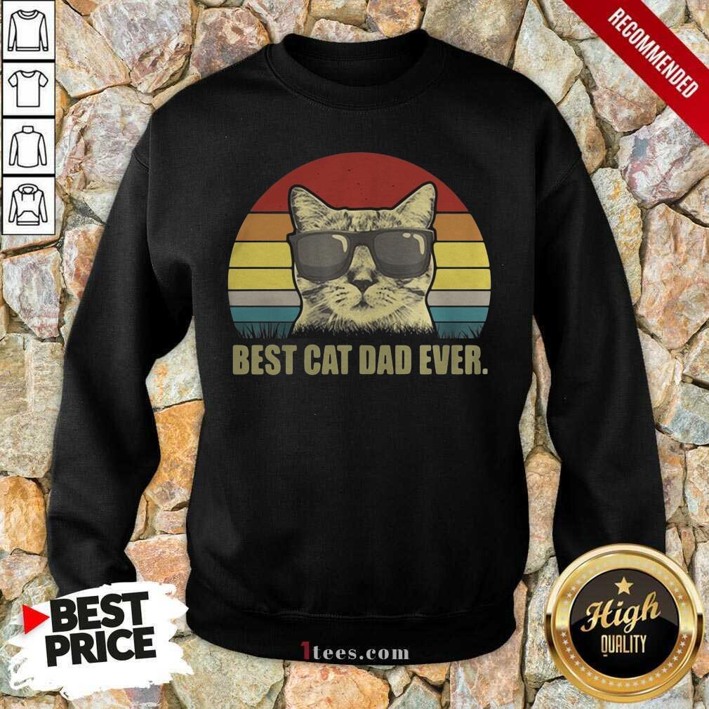 Best Cat Dad Ever Sunset Sweatshirt- Design By 1Tees.com