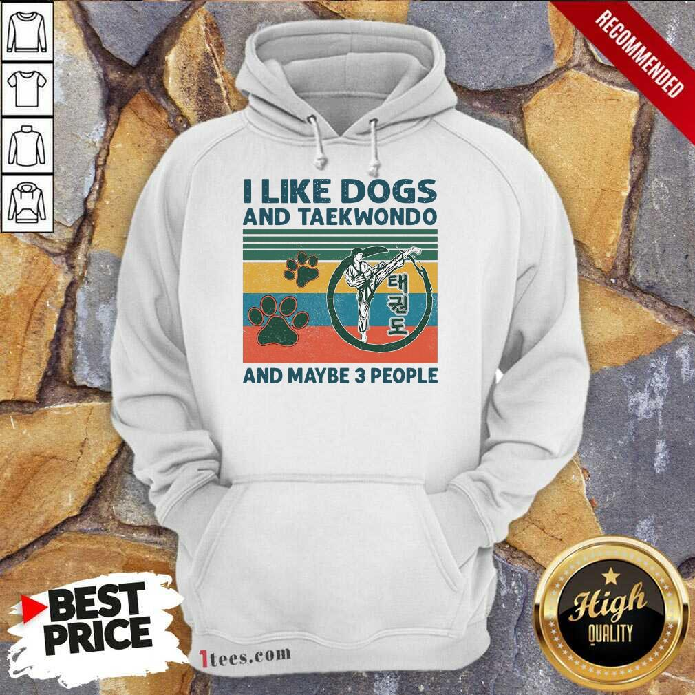 I Like Dogs And Taekwondo And Maybe 3 People Vintage Hoodie-Design By 1Tees.com