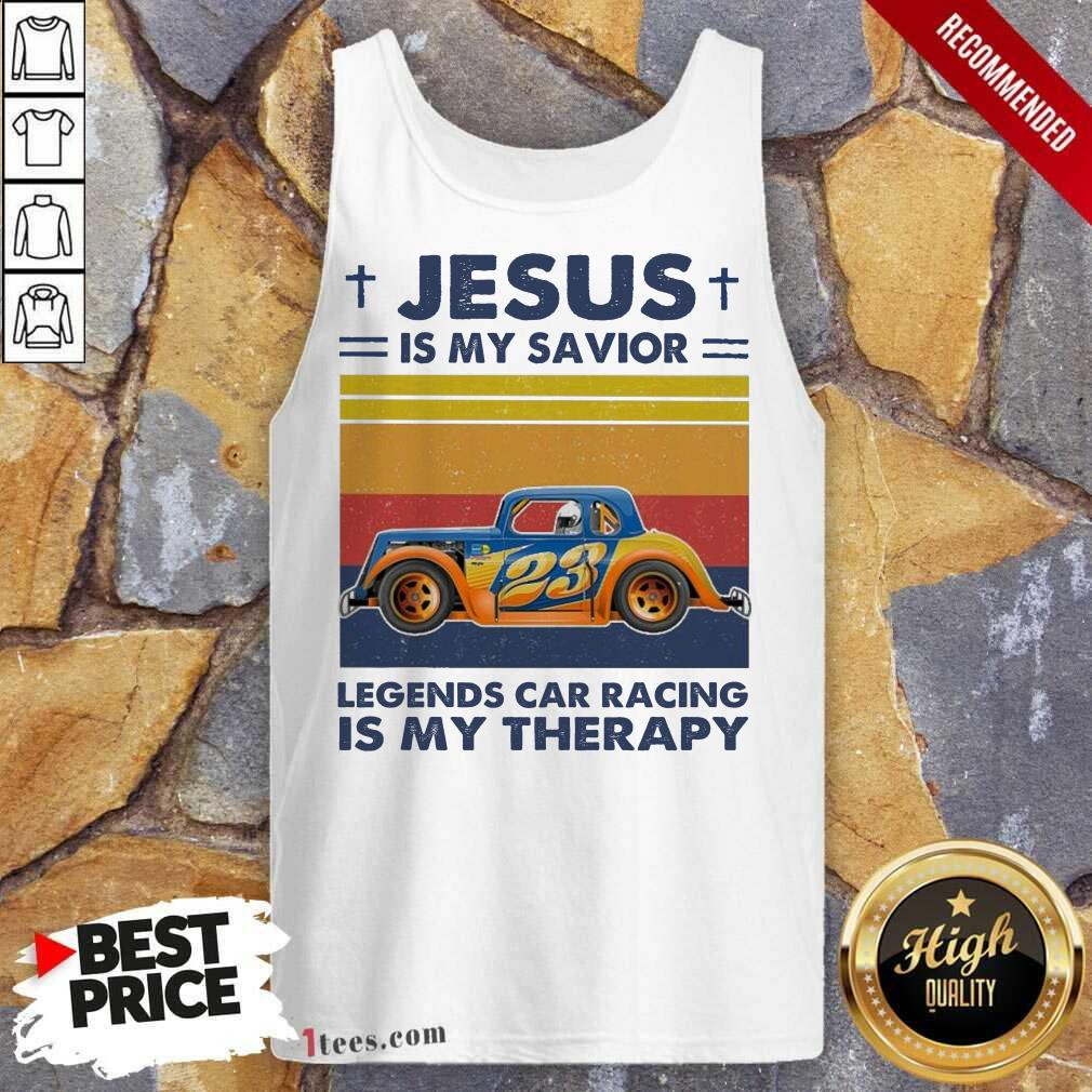 Jesus Is My Savior Legends Car Racing Is My Therapy Vintage Tank Top- Design By 1tees.com