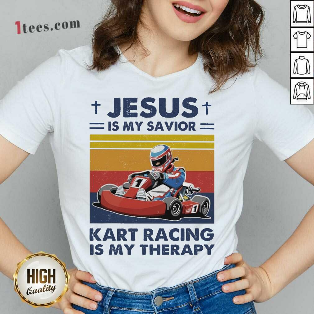 Jesus Is My Savior Kart Racing Is My Therapy Vintage V-neck- Design By 1tees.com