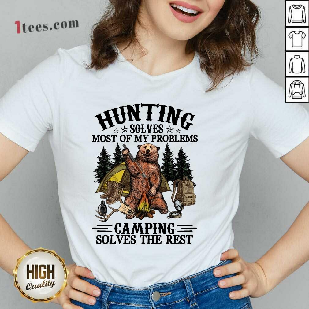 Appalled Bear Hunting Camping Sloves The Rest V-neck