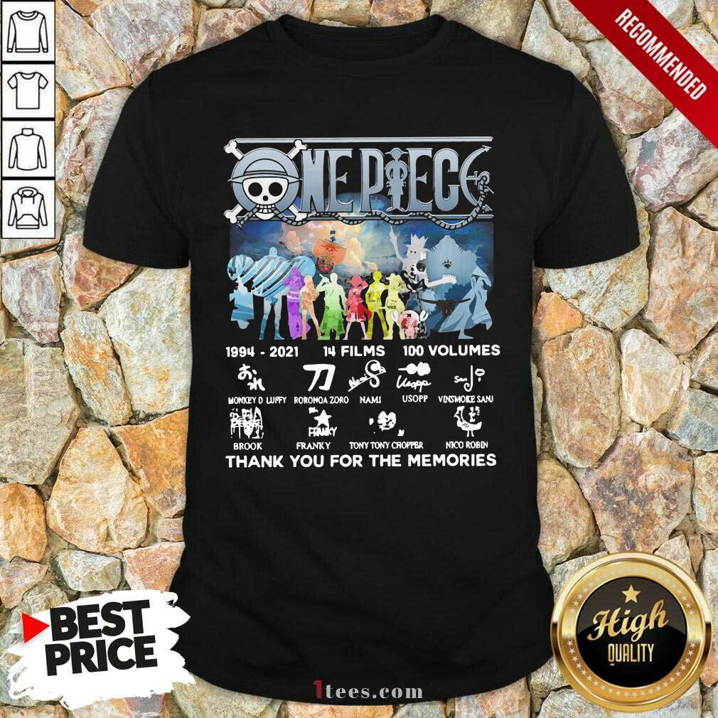 One Piece 14 Films 100 Volumes Thank You For The Memories Signatures Shirt
