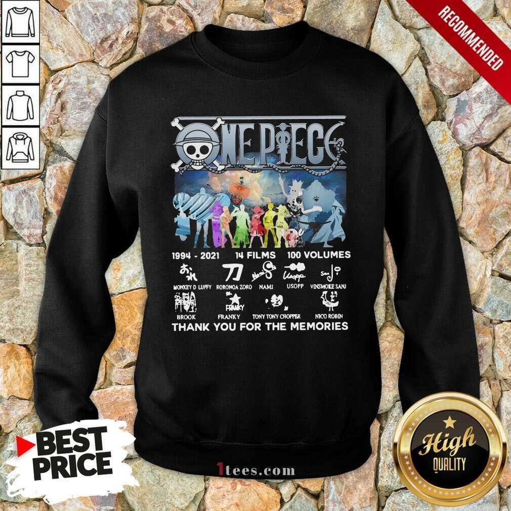 One Piece 14 Films 100 Volumes Thank You For The Memories Signatures Sweatshirt