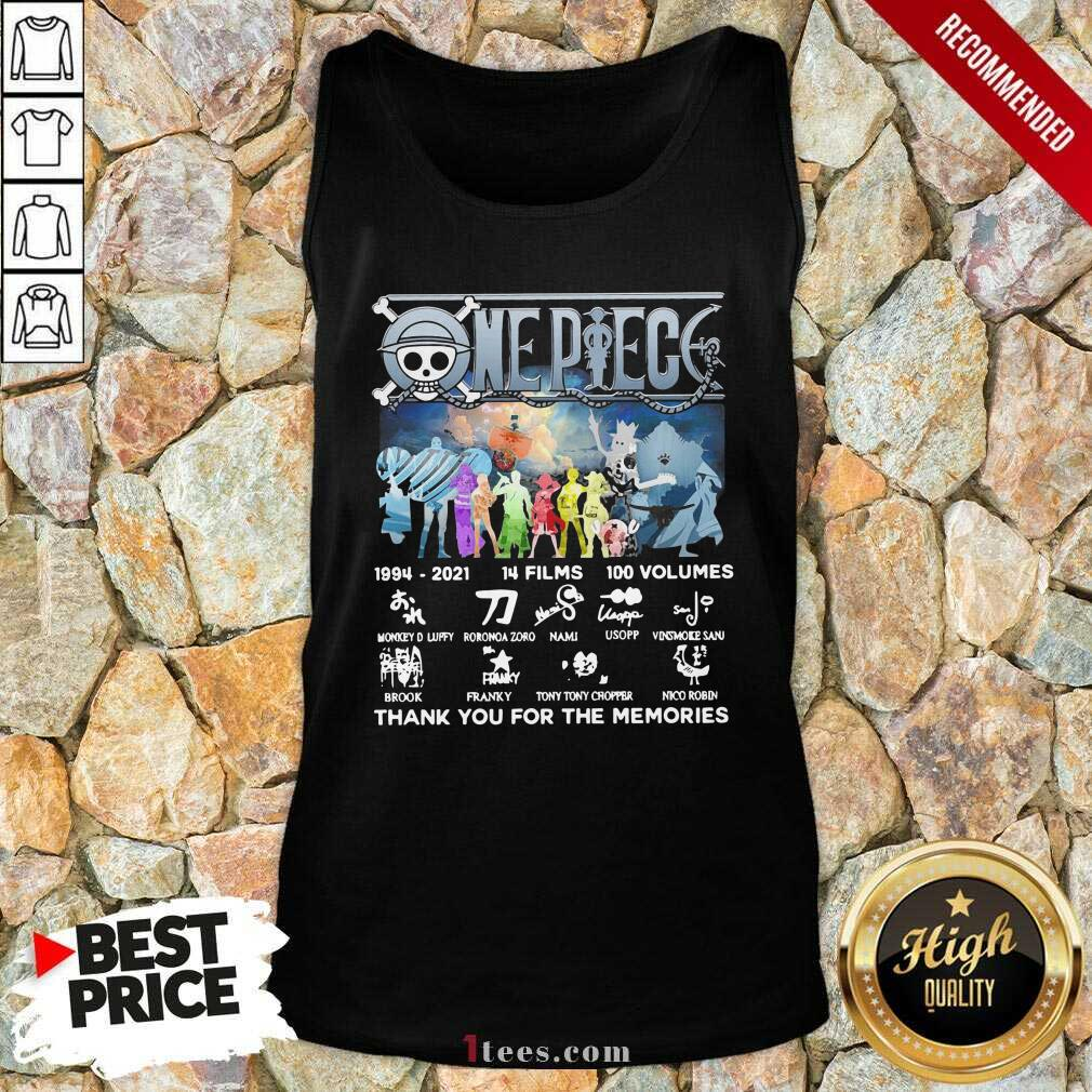One Piece 14 Films 100 Volumes Thank You For The Memories Signatures Tank Top