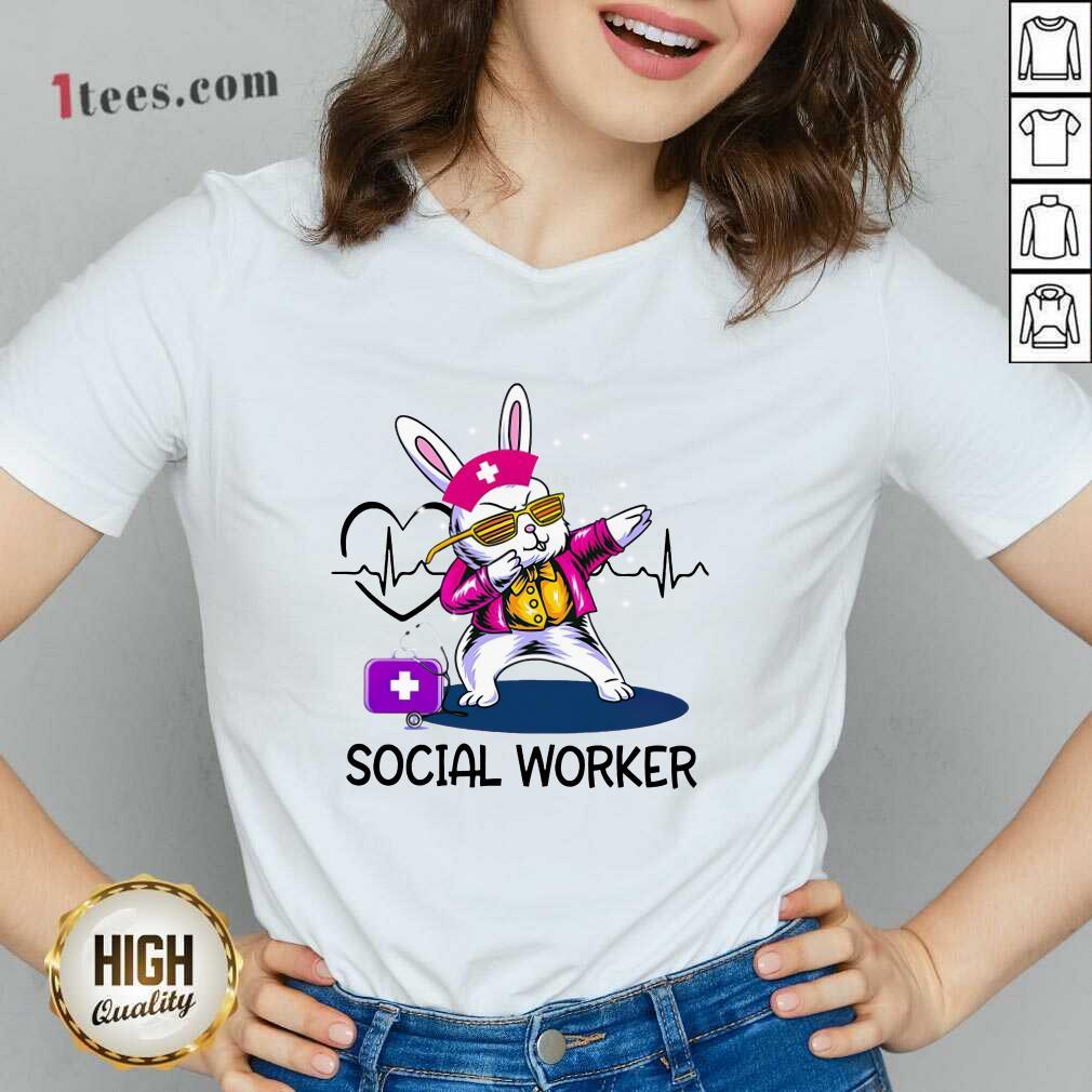 Delighted Bunny Nurse Dab Social Worker V-neck