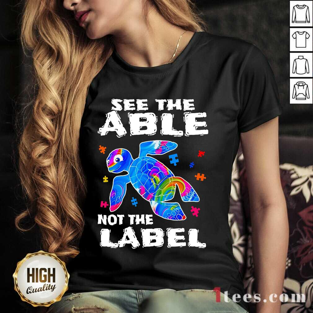Delighted Turtle See The Able Nnot The Label V-neck