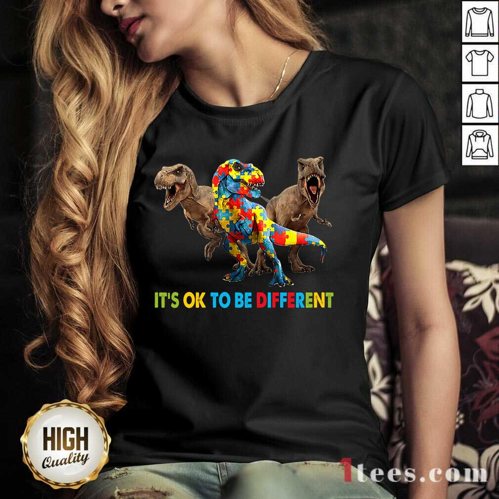 Ecstatic Its Ok To Be Different Autism Dinosaur V-neck
