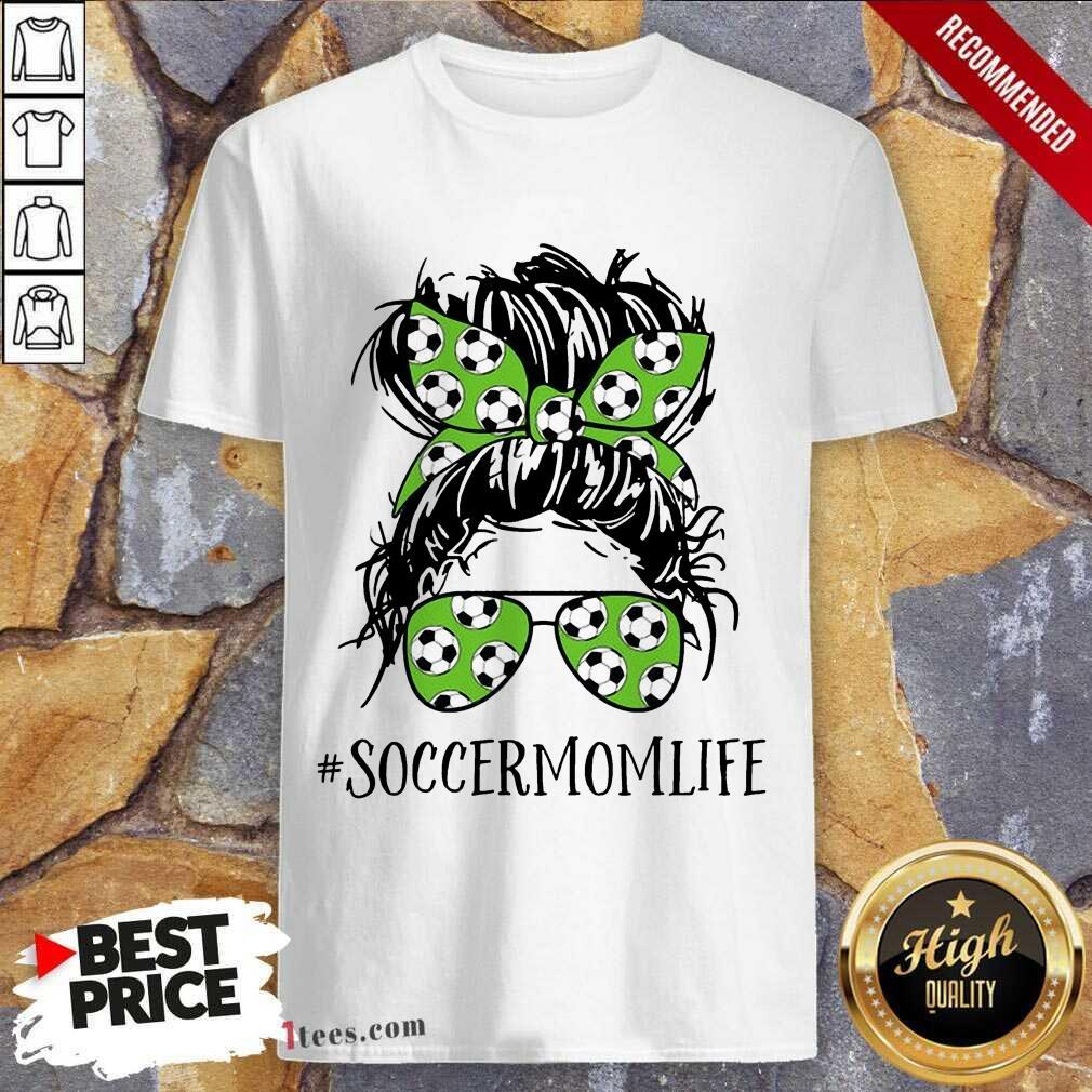 Ecstatic Mom Life Soccer Messy Bun Shirt