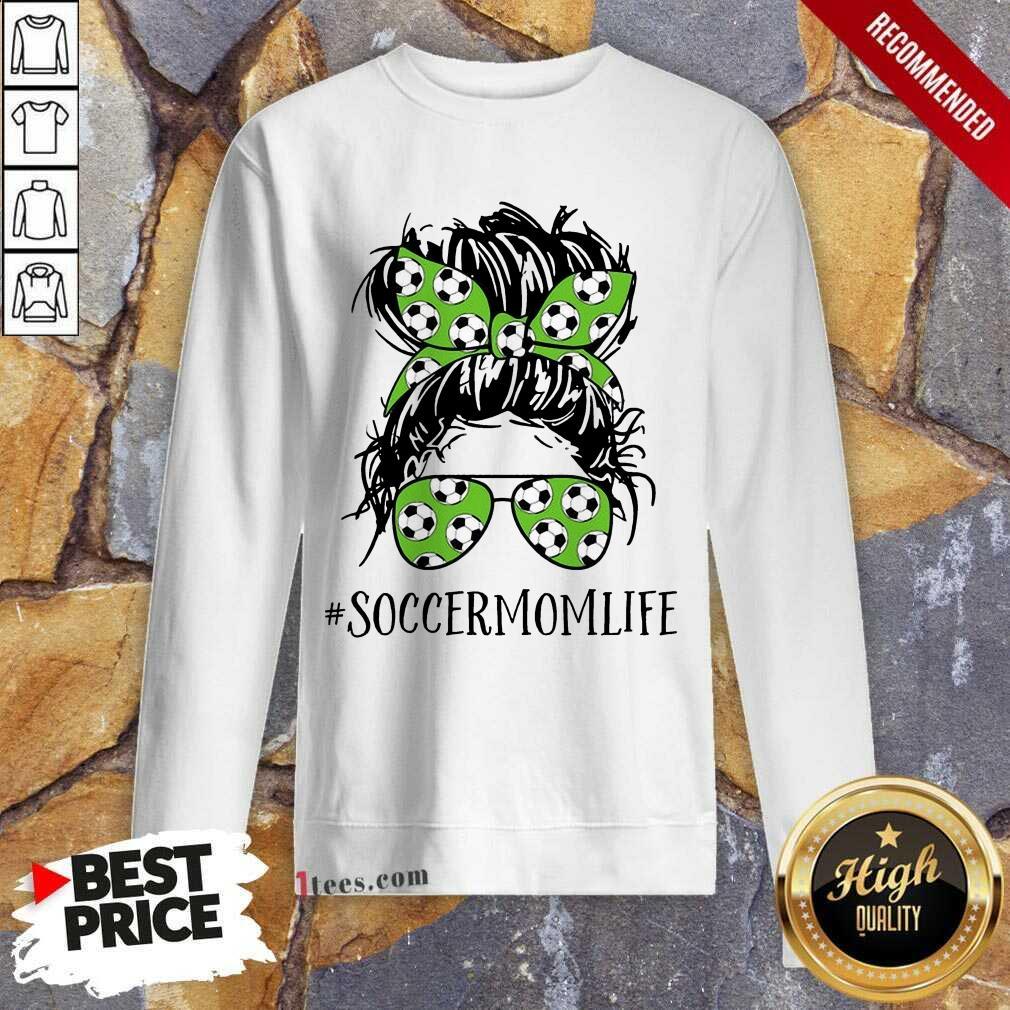 Ecstatic Mom Life Soccer Messy Bun Sweatshirt