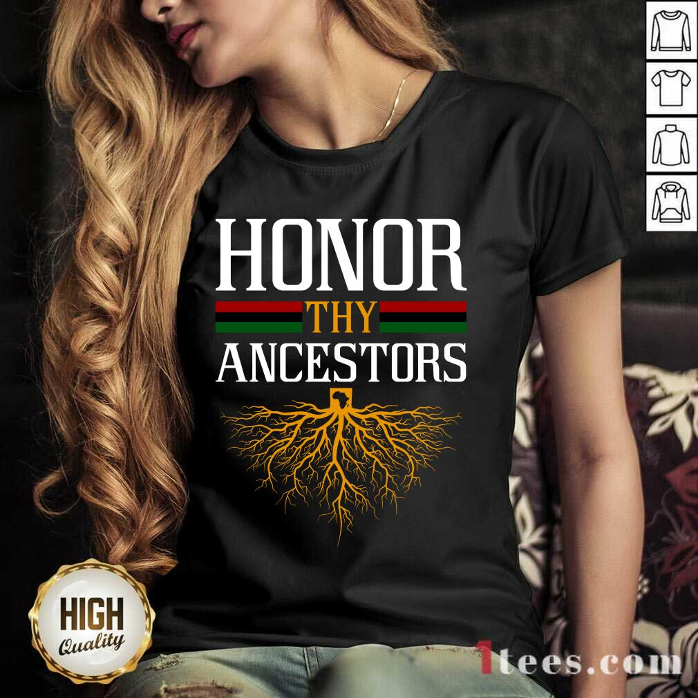Funny Honor Thy Ancestors Excited V-neck