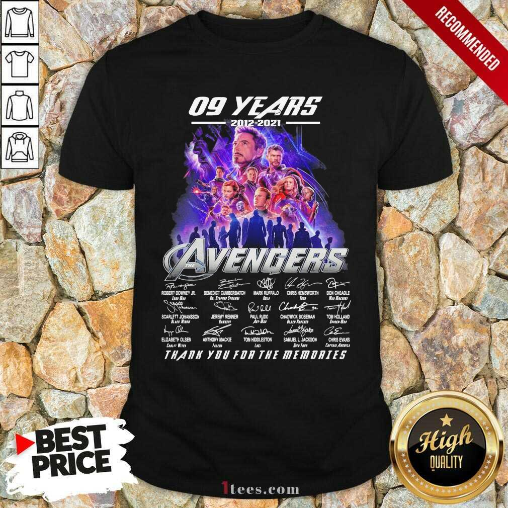 09 Years 2012 2021 Avengers Thank You For The Memories Signatures Shirt