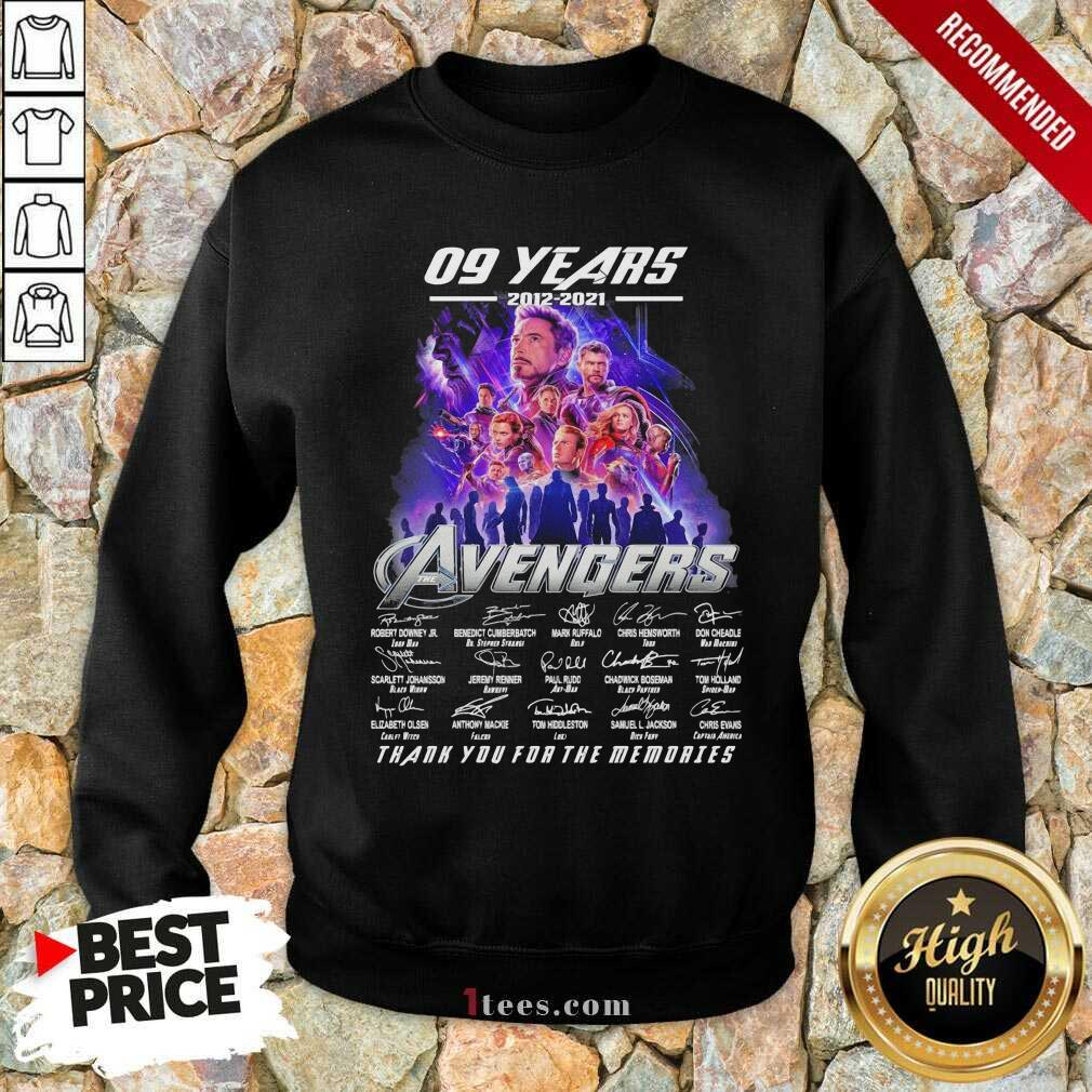 09 Years 2012 2021 Avengers Thank You For The Memories Signatures Sweatshirt