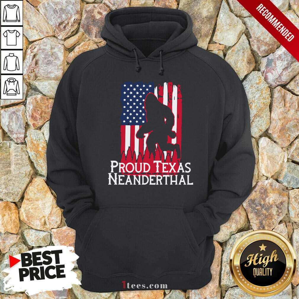 Bigfoot Proud Texas Neanderthal American Flag Hoodie