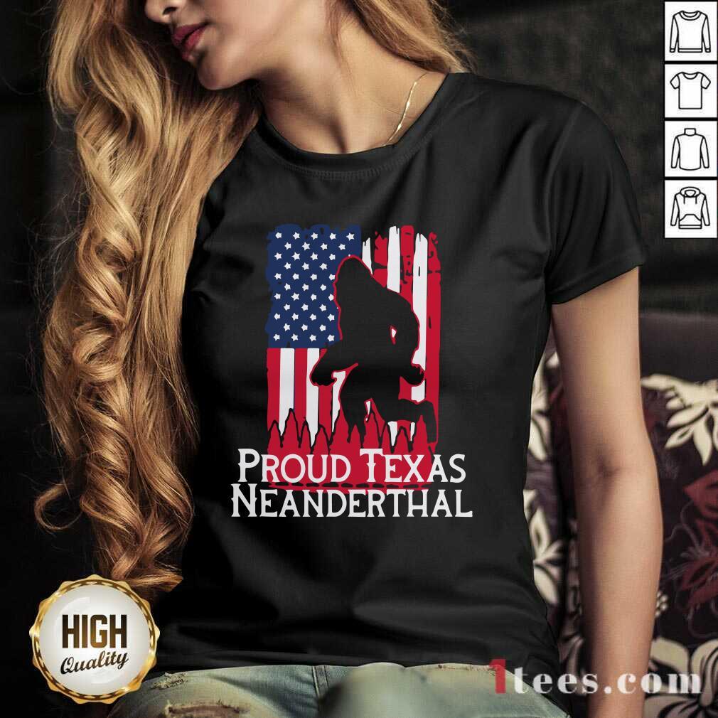 New Bigfoot Proud Texas Neanderthal American Flag V-neck