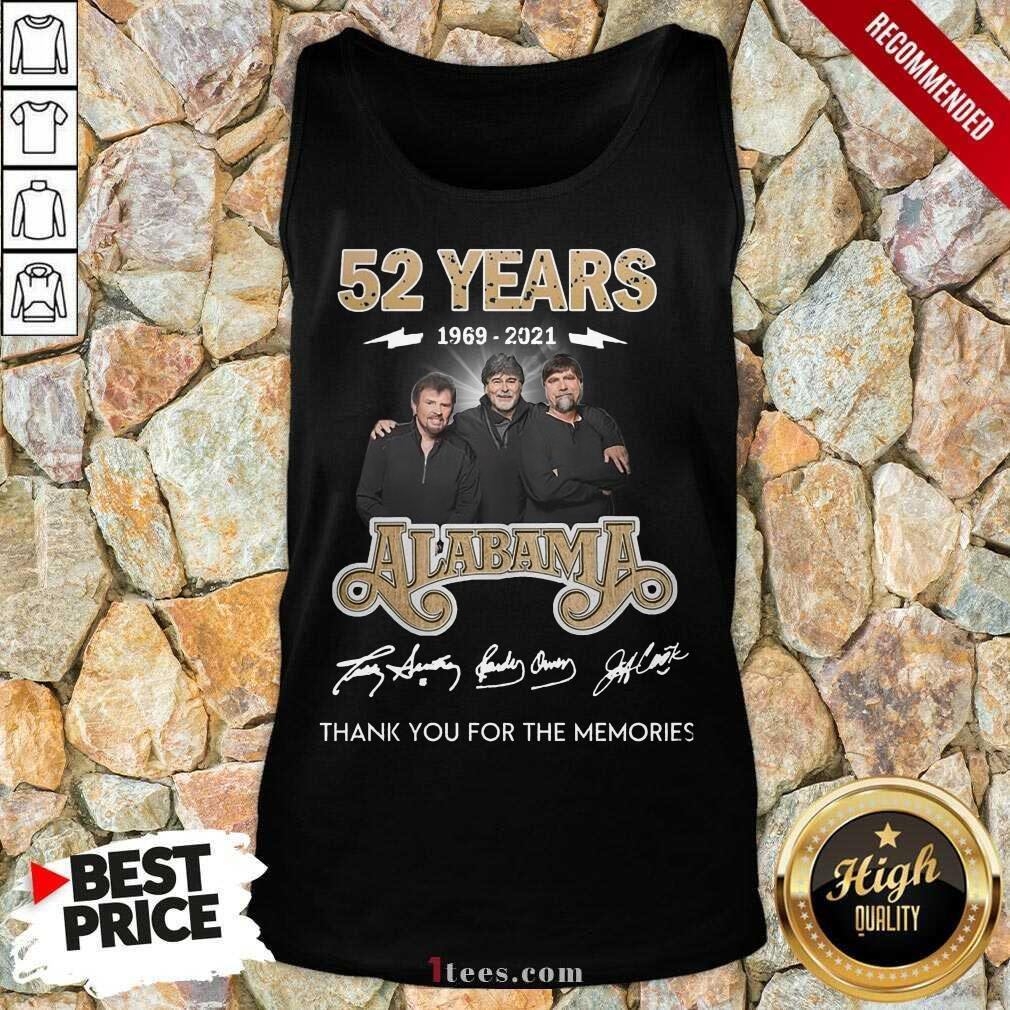 Official 52 Years 1969 2021 Alabama Great Tank Top