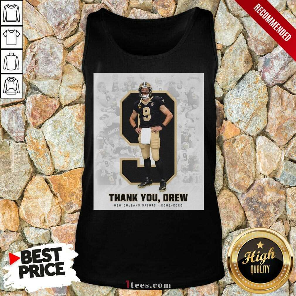 Official 9 Drew Brees Thank You Drew Tank Top