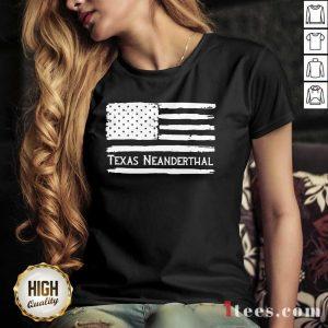 American flag Texas Neanderthal V-neck