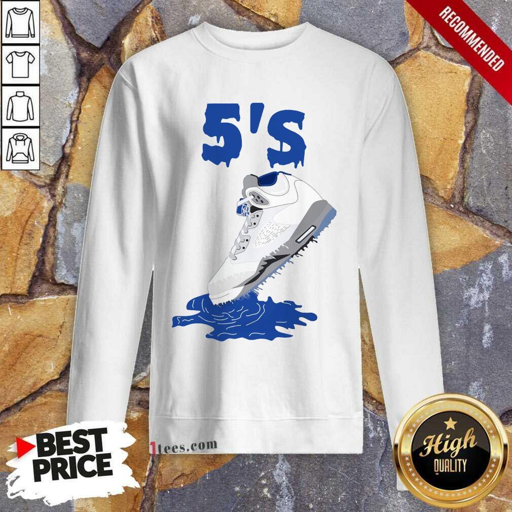 Relaxed Sneaker Dripping Air Jordan Retro 5 Blue Sweatshirt