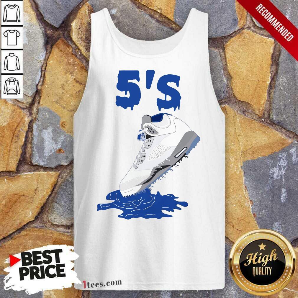 Relaxed Sneaker Dripping Air Jordan Retro 5 Blue Tank Top