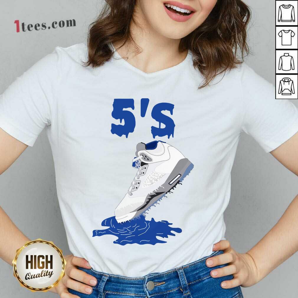 Relaxed Sneaker Dripping Air Jordan Retro 5 Blue V-neck