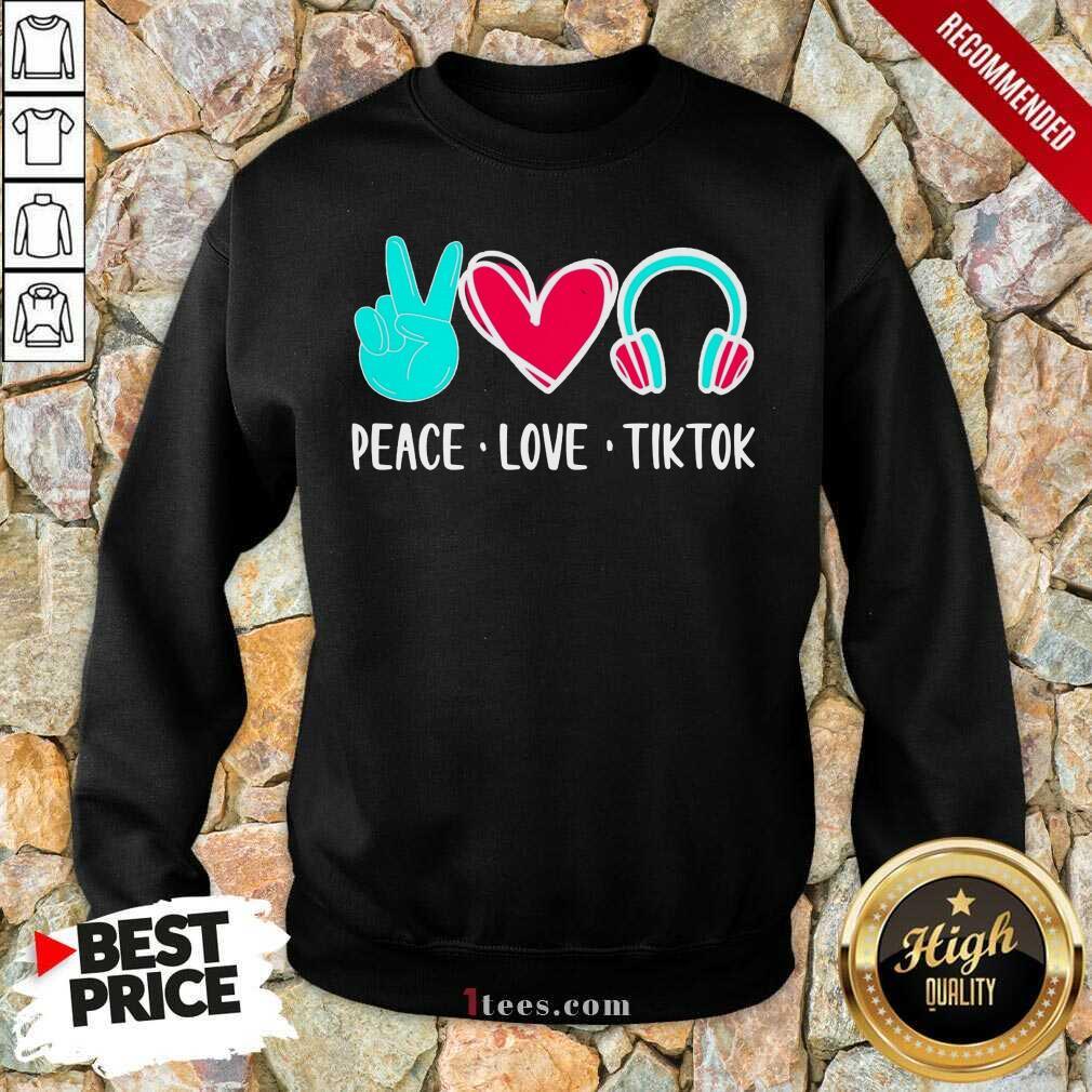Surprised Peace Love Tiktok 2021 Sweatshirt