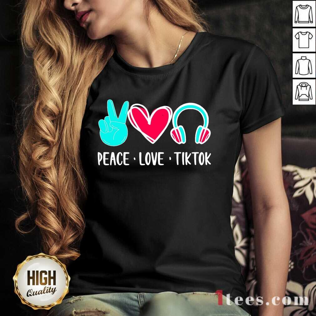 Surprised Peace Love Tiktok 2021 V-neck