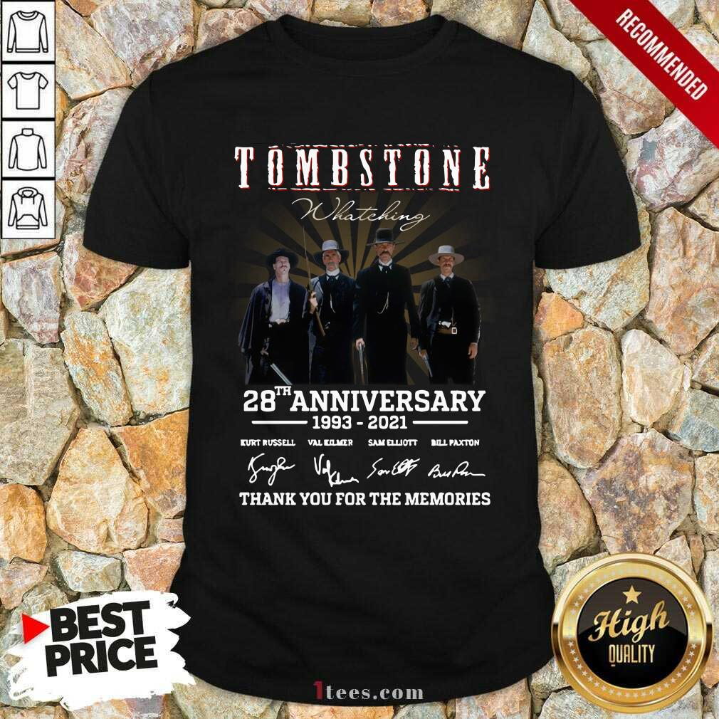Tombstone 28th Anniversary Thank You For The Memories Signatures Shirt