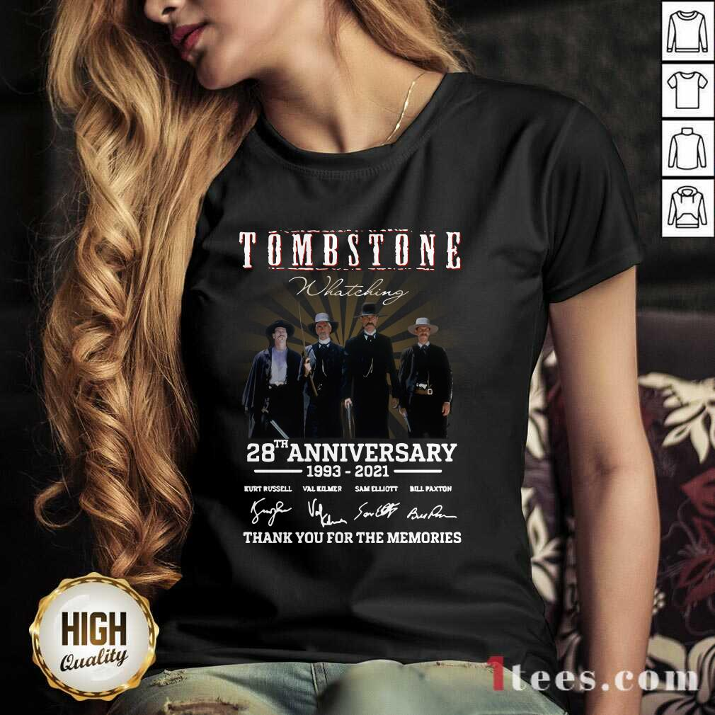 Tombstone 28th Anniversary Thank You For The Memories Signatures V-neck