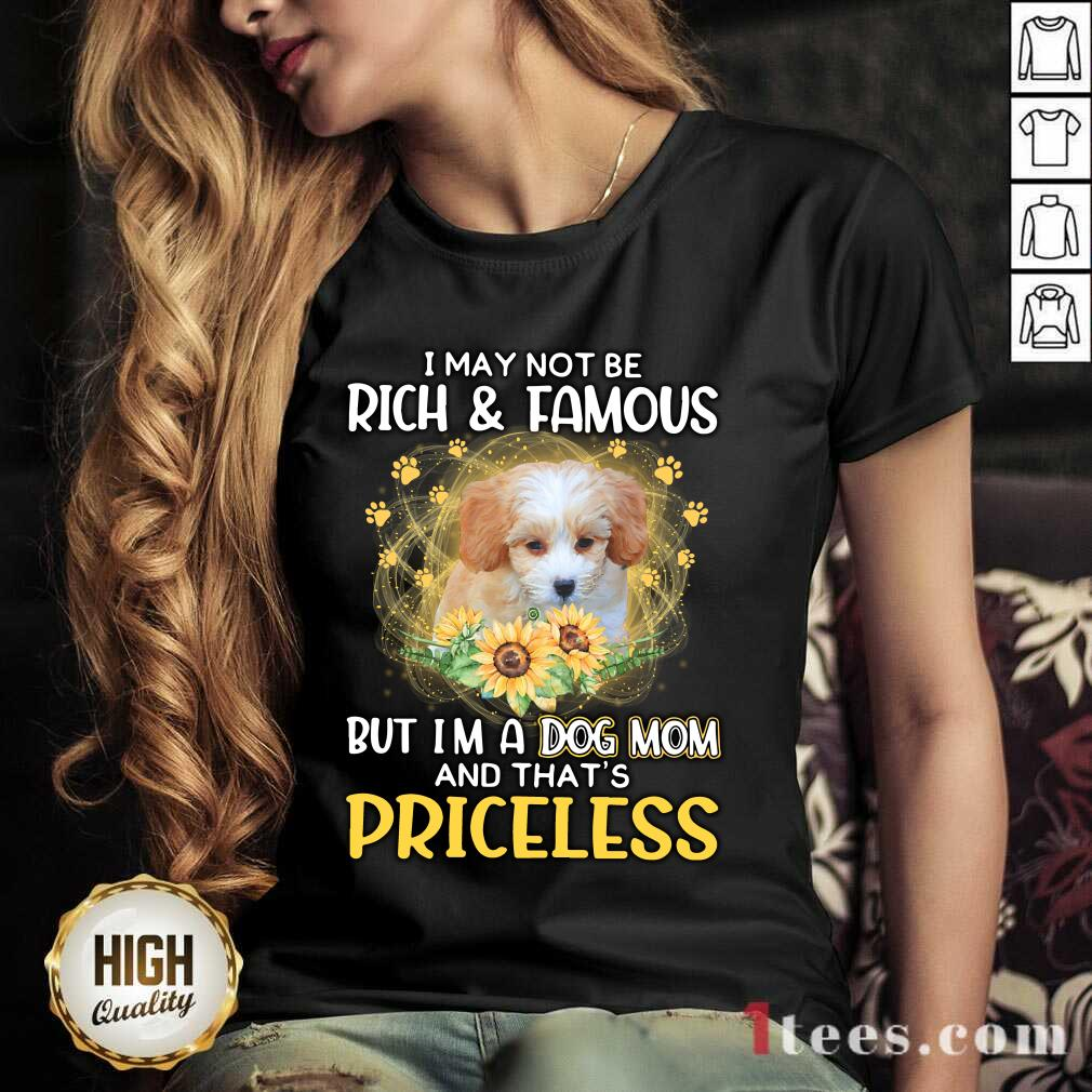 Amused Shih Poo I May Not Be Rich And Famous But Im A Dog Mom And Thats Priceless V-neck