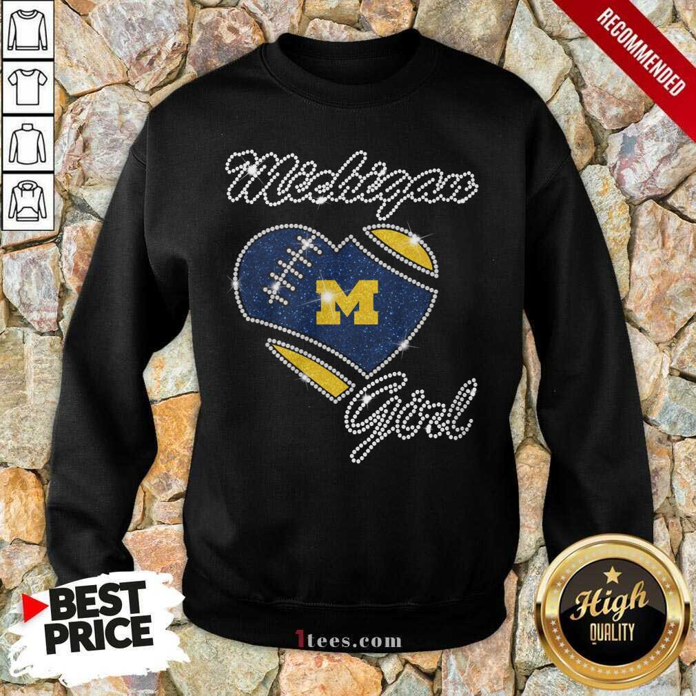 Excited Heart Michigan Girl Diamond Sweatshirt
