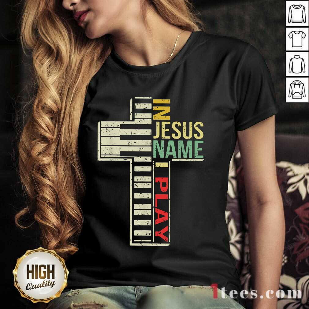 Pretty In Jesus Name I Play Piano Vintage V-neck