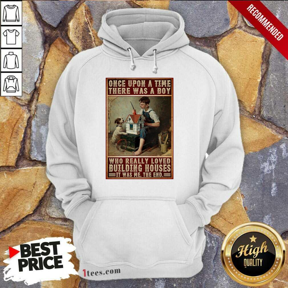 A Boy And Dog Building Houses Poster Hoodie