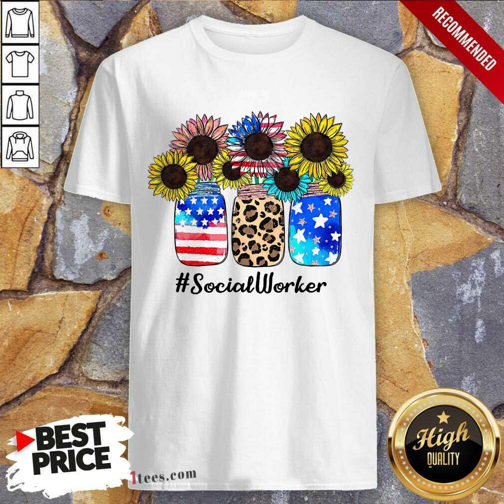 American Flag Sunflower Social Worker Shirt