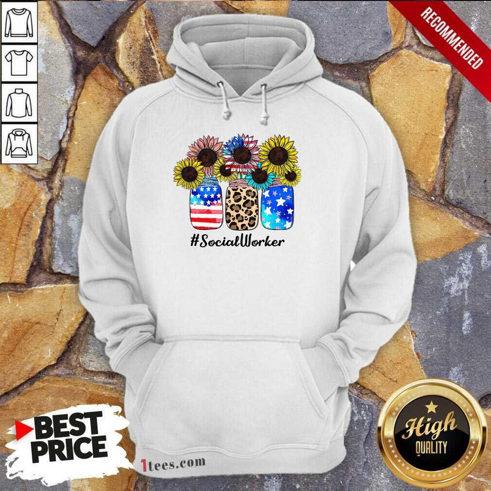 American Flag Sunflower Social Worker Hoodie