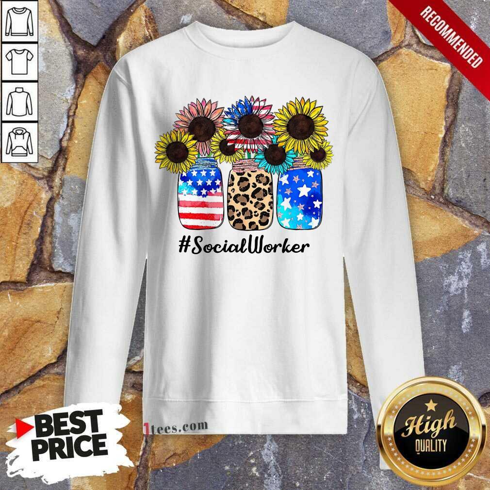 American Flag Sunflower Social Worker Sweatshirt