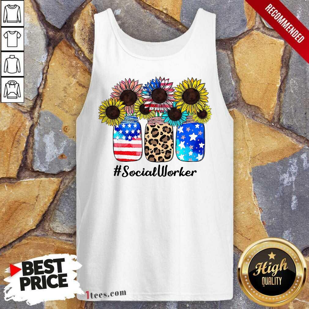 American Flag Sunflower Social Worker Tank Top