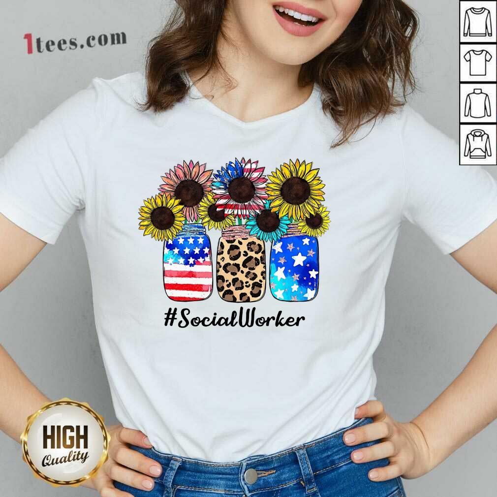 American Flag Sunflower Social Worker V-neck