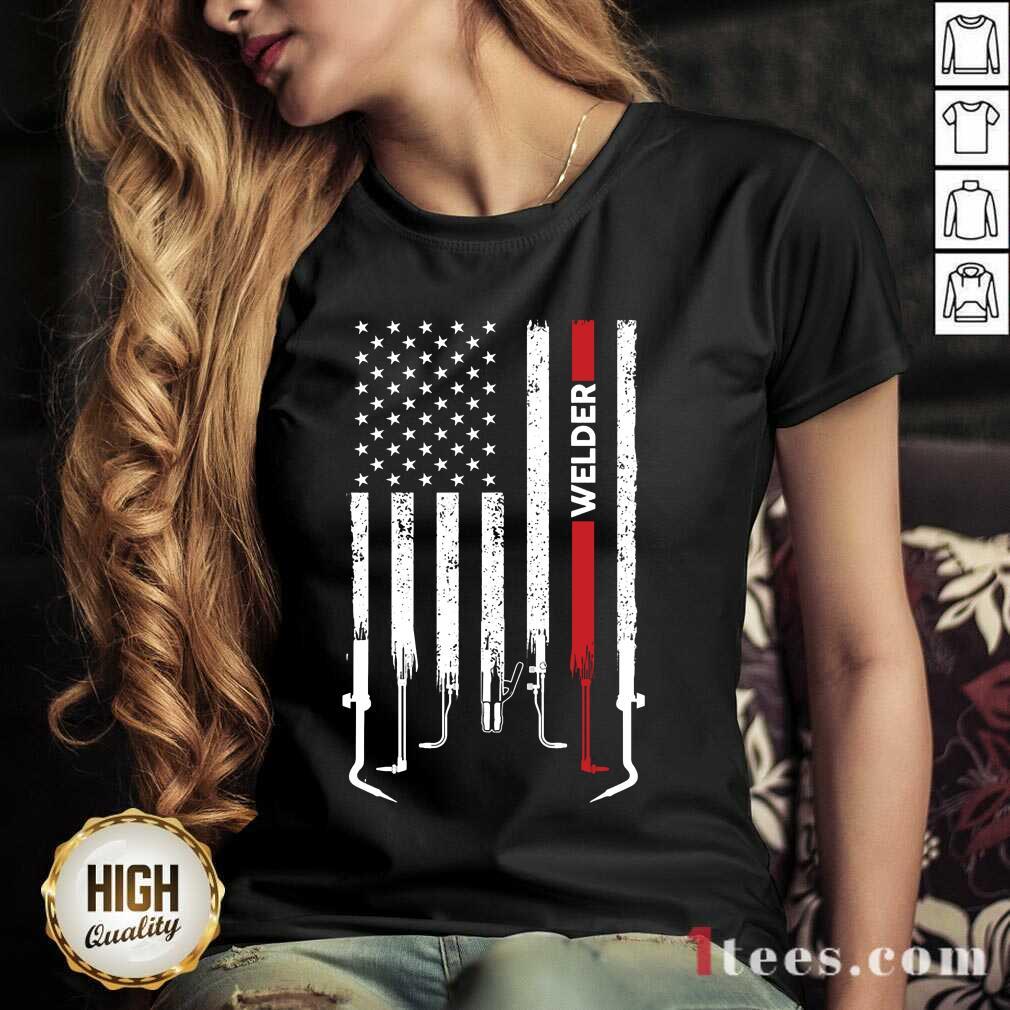 American Flag Welder V-neck