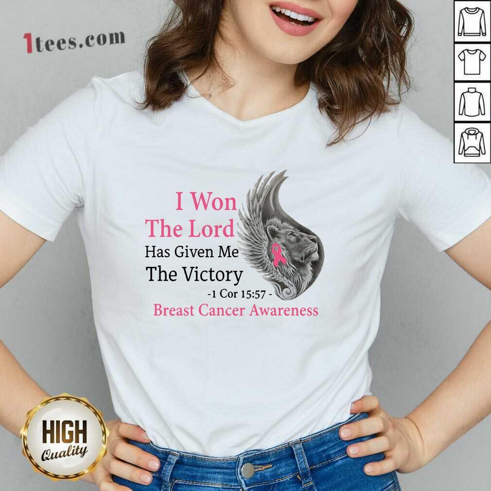 Breast Cancer Awareness Lion V-neck