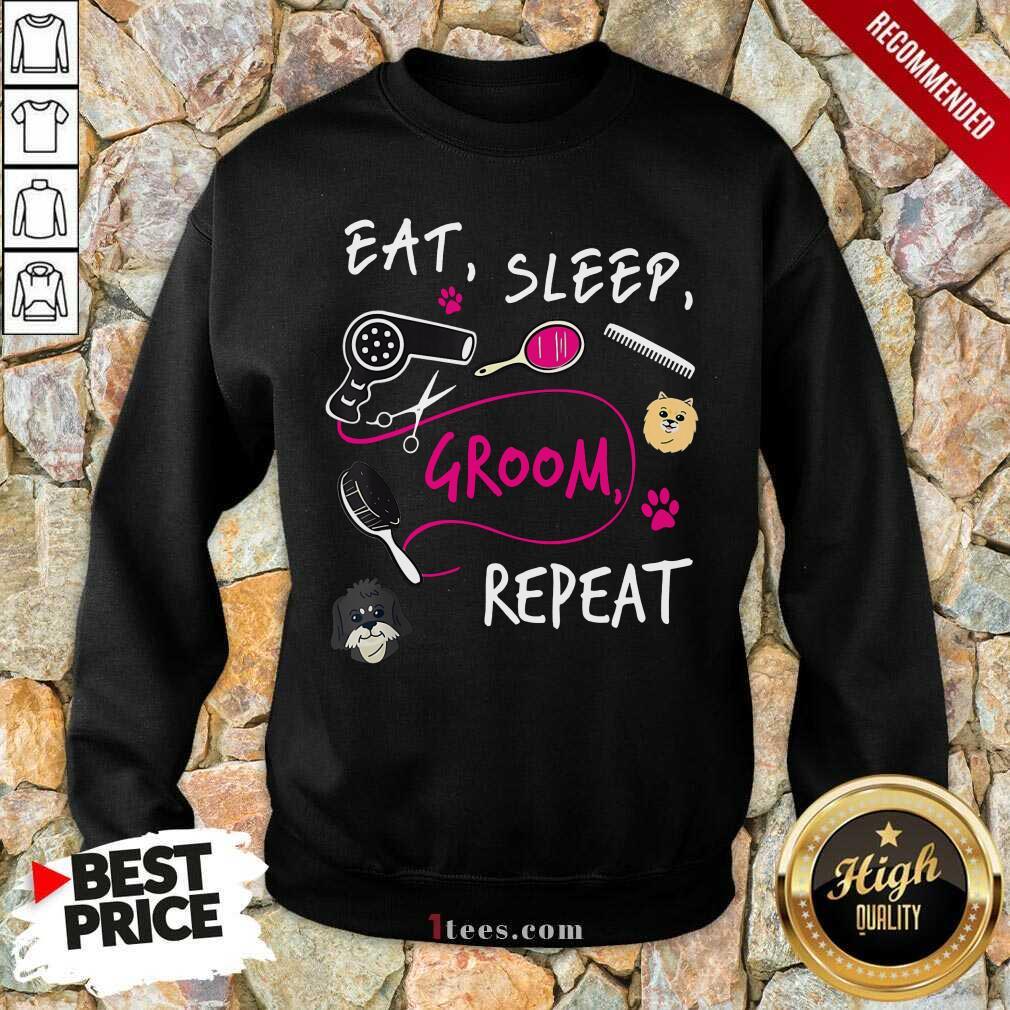 Cute Dog Eat Sleep Groom Repeat Sweatshirt