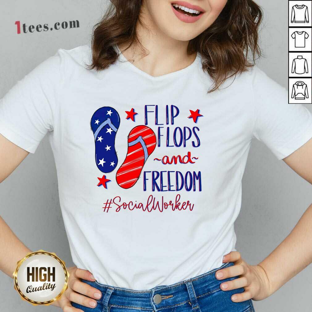 Flip Flops And Freedom Social Worker V-neck