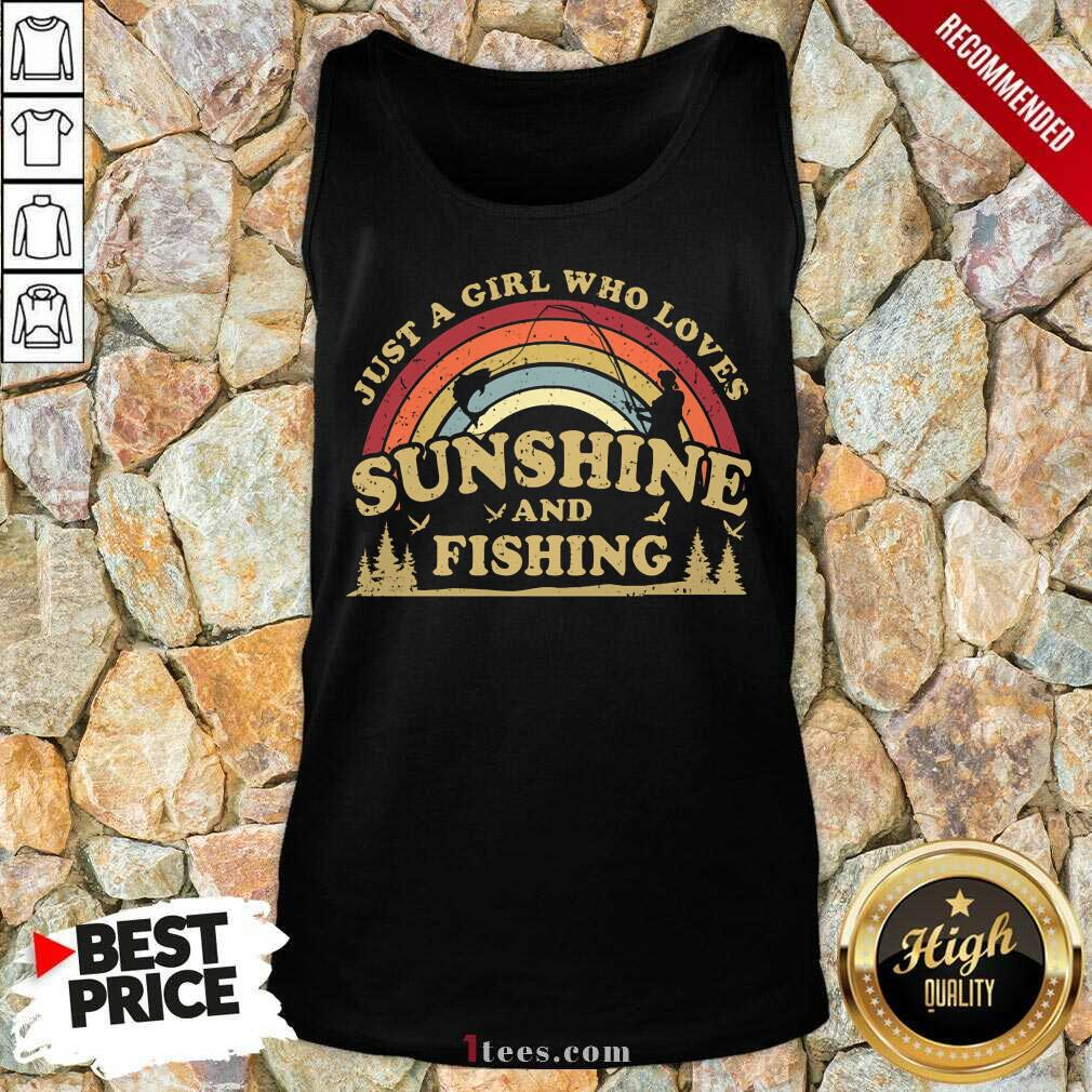 Girl Who Loves Sunshine And Fishing Tank Top