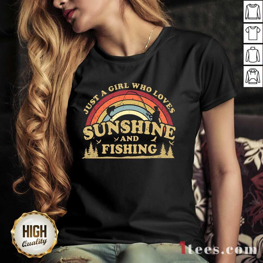 Girl Who Loves Sunshine And Fishing V-neck